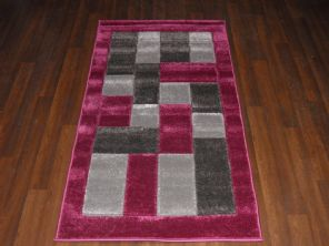 Modern New Rugs Approx 5x2ft6 80x150cm Woven best quality ,Blocks Purple/Grey
